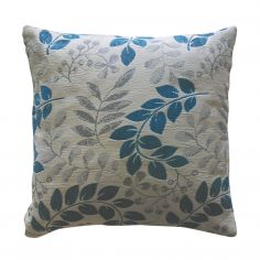 Hopton Leaf Chenille Cushion Cover - Teal