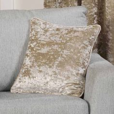 Plush Crushed Velvet Self Piped Cushion Cover - Silk