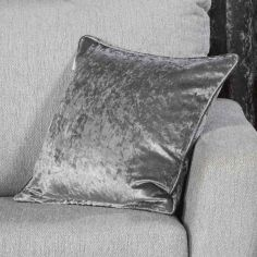 Plush Crushed Velvet Self Piped Cushion Cover - Steel