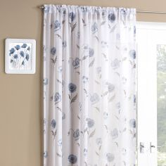 Floral Meadow Slot Top Voile Curtain Panel - Blue