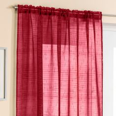 Red Glitter Voile Curtain Panel
