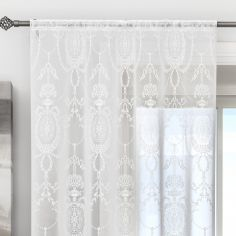 Holly Damask Laced White Voile Curtain Panel