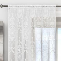 Holly Damask Laced Cream Voile Curtain Panel