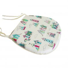 Pink & Blue Beach Huts Tie On Seat Pad