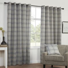 Highland Check Textured Eyelet Ring Top Curtains - Charcoal Grey