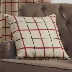 Highland Check Textured Cushion Cover - Natural & Red