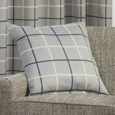 Highland Check Textured Cushion Cover - Grey