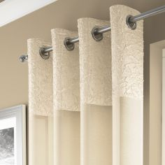 Elegant Madeira Ring Top Voile Curtain Panel - Cream
