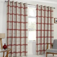 Denver Check Thermal Blackout Ring Top Curtains - Red