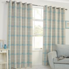 Denver Check Thermal Blackout Ring Top Curtains - Duck Egg Blue