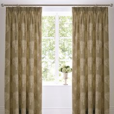 Woodland Trees Tape Top Fully Lined Curtains - Natural
