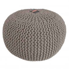 Large Knitted Pouffe Footstool Foot Cushion Rest - Natural Truffle