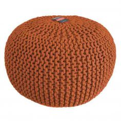 Large Knitted Pouffe Footstool Foot Cushion Rest - Orange