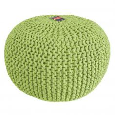 Large Knitted Pouffe Footstool Foot Cushion Rest - Lime