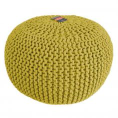 Large Knitted Pouffe Footstool Foot Cushion Rest - Ochre