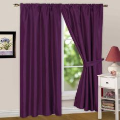 Faux Silk Lined Tape Top Curtains - Aubergine
