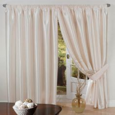 Faux Silk Lined Tape Top Curtains - Cream