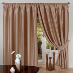 Faux Silk Lined Tape Top Curtains - Latte