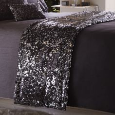 Dazzle Sequin Modern Quilt Runner - Charcoal Grey