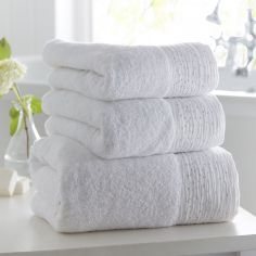 100% Cotton Diamante Supersoft Towel - White