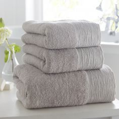 100% Cotton Diamante Supersoft Towel - Silver Grey