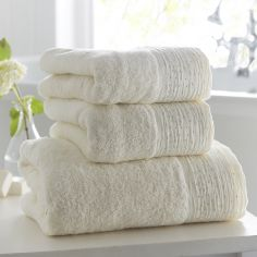 100% Cotton Diamante Supersoft Towel - Cream