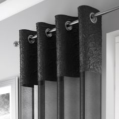 Elegant Madeira Ring Top Voile Curtain Panel - Black