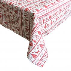 Christmas Noel Red & White Tablecloth