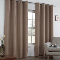 Linen Look Textured Thermal Blockout Ring Top Curtains - Mocha Oatmeal