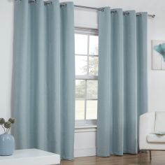 Linen Look Textured Thermal Blockout Ring Top Curtains - Duck Egg Blue