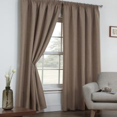 Linen Look Textured Thermal Blockout Tape Top Curtains - Mocha Oatmeal