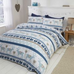 Scandi Stag Thermal Flannelette Duvet Cover Set - Blue