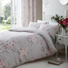 Catherine Lansfield Canterbury Floral Reversible Duvet Cover Set - Grey
