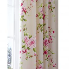 Canterbury Fully Lined Tape Top Floral Curtains - Red
