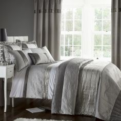 Catherine Lansfield Gatsby Luxury Silver Duvet Cover Set