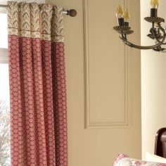 Catherine Lansfield Kashmir Red & Natural Eyelet Curtains