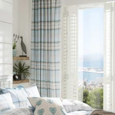 Catherine Lansfield Kelso Tartan Lined Tape Top Curtains - Duck Egg Blue