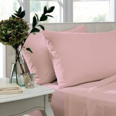 Catherine Lansfield Pair of Non Iron Percale Combed Polycotton Standard Pillowcases - Candy