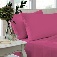 Catherine Lansfield Pair of Non Iron Percale Combed Polycotton Standard Pillowcases - Hot Pink