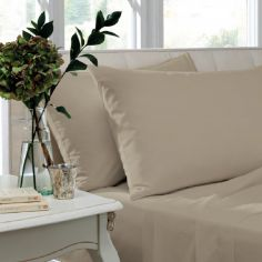 Catherine Lansfield Pair of Non Iron Percale Combed Polycotton Standard Pillowcases - Natural