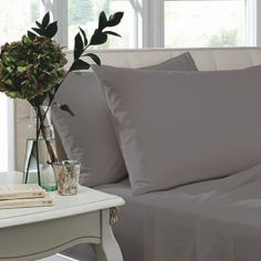 Catherine Lansfield Pair of Non Iron Percale Combed Polycotton Standard Pillowcases - Grey