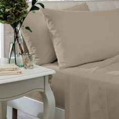 Catherine Lansfield Non Iron Percale Combed Polycotton Flat Sheet - Natural
