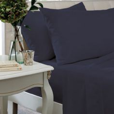 Catherine Lansfield Non Iron Percale Combed Polycotton Flat Sheet - Navy