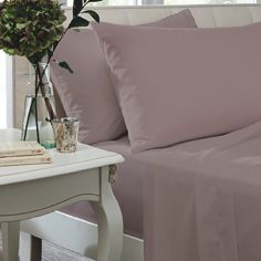 Catherine Lansfield Non Iron Percale Combed Polycotton Flat Sheet - Heather