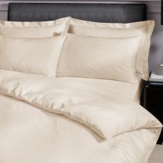 Catherine Lansfield Satin Stripe 300 Thread Count Premium Standard Pillowcases - Cream