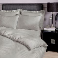 Catherine Lansfield Pair of Satin Stripe 300 Thread Count Premium Standard Pillowcases - Grey