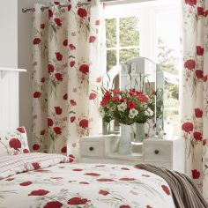 Catherine Lansfield Wild Poppies Ring Top Curtains