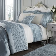Catherine Lansfield Quilted Luxury Satin Duvet Cover Set - Duck Egg
