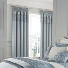Quilted Luxury Satin Tape Top Curtains - Duck Egg