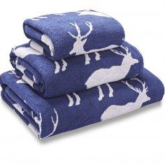 Stag Jacquard 100% Cotton Towel - Navy